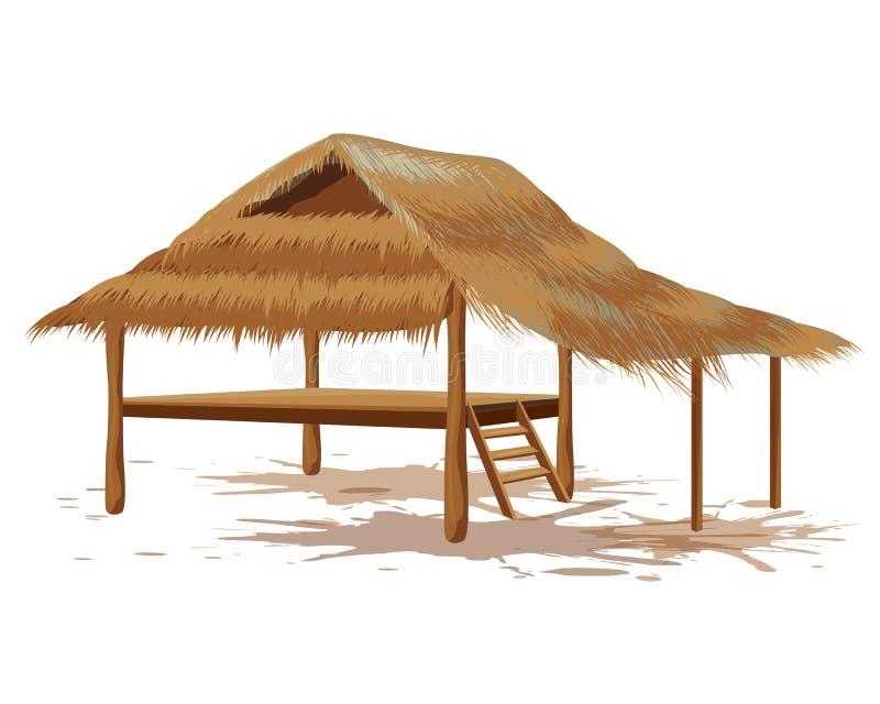 Cabana da palha do telhado ilustração royalty free