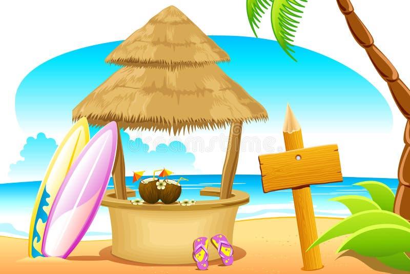 Cabana da palha e placa surfando na praia ilustração do vetor