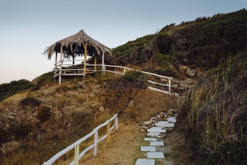 Cabana da palma na praia fotos de stock royalty free