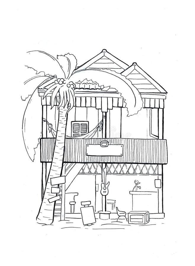 Cabana de madeira com esboço handdrawn da rede Arquitetura tropical da casa de ilha Esboço branco preto do curso ilustração royalty free