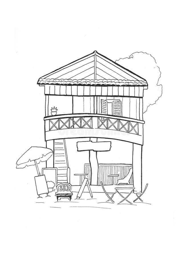 Cabana de madeira com esboço handdrawn do café Arquitetura tropical da casa de ilha Esboço branco preto do curso ilustração stock