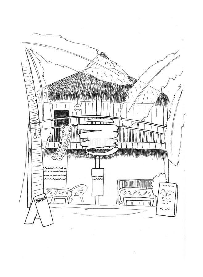 Cabana de madeira com esboço handdrawn do hotel Arquitetura tropical da casa de ilha Esboço branco preto do curso ilustração do vetor