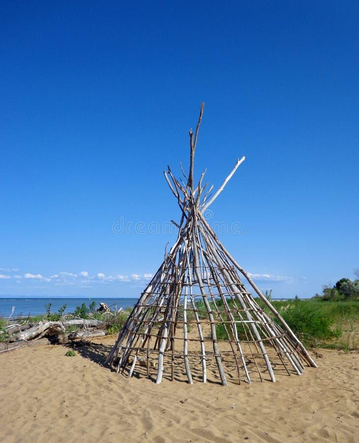 Cabana de Woooden no mar de adriático foto de stock royalty free