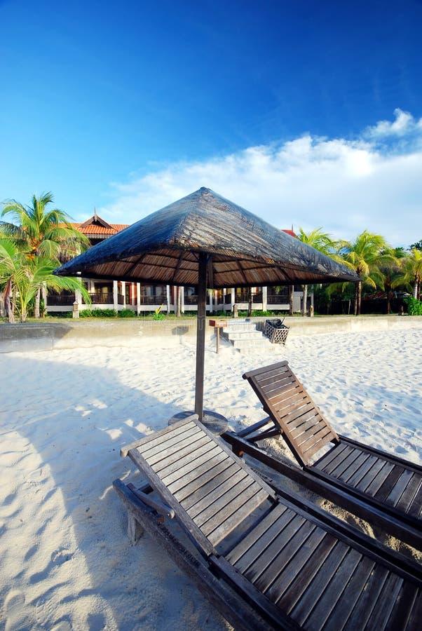 Cabana door het strand stock afbeeldingen