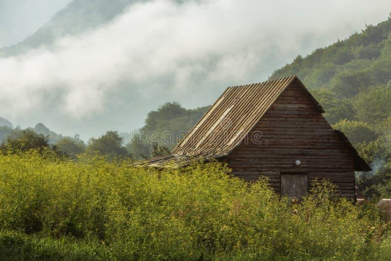 Cabana na floresta nevoenta foto de stock