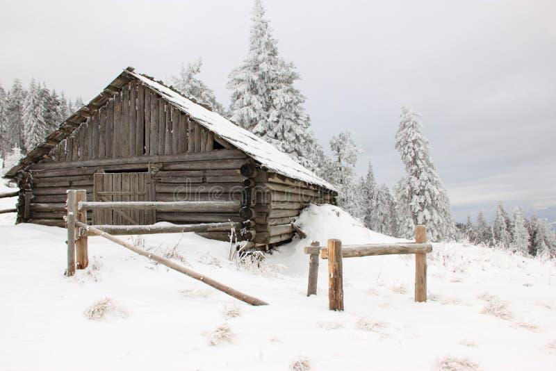 Cabana nas montanhas Carpathian foto de stock royalty free