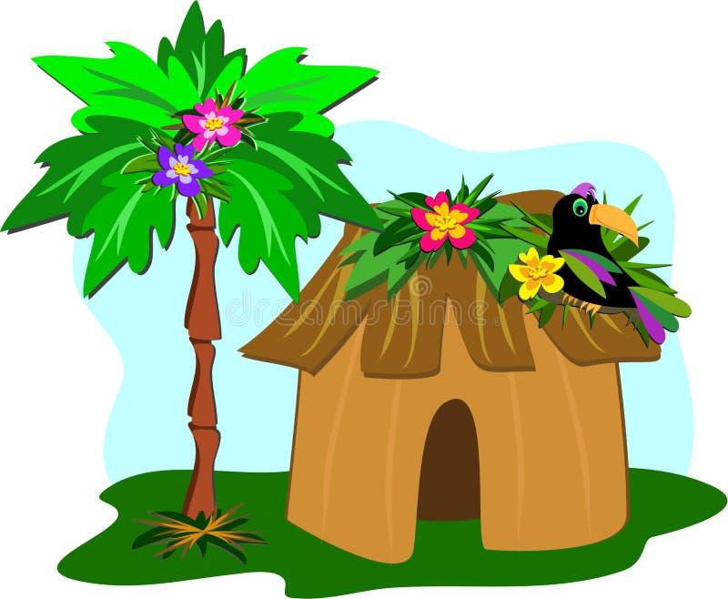 Cabana, palmeira, e Toucan tropicais ilustração stock