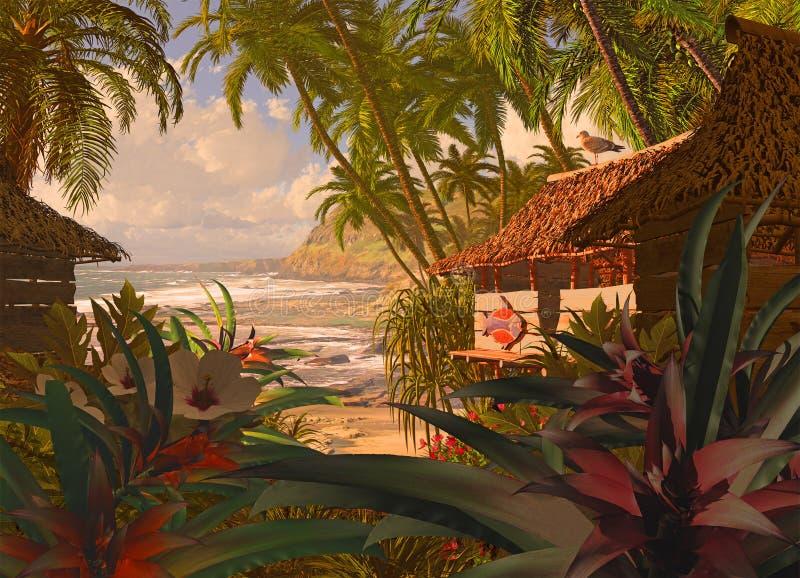 Cabana polinésia da praia ilustração do vetor