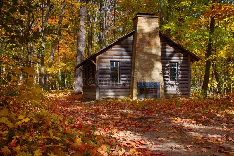 Cabana rústica de madeira em madeiras da queda foto de stock royalty free