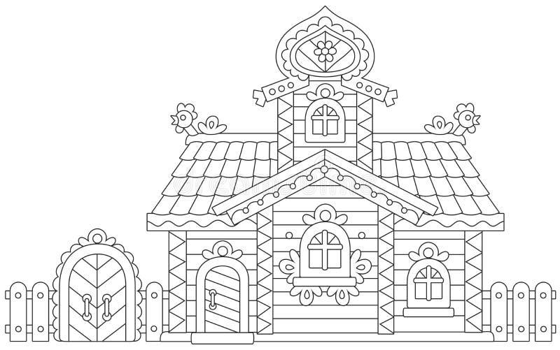 Cabana rústica de madeira ornamentado ilustração do vetor