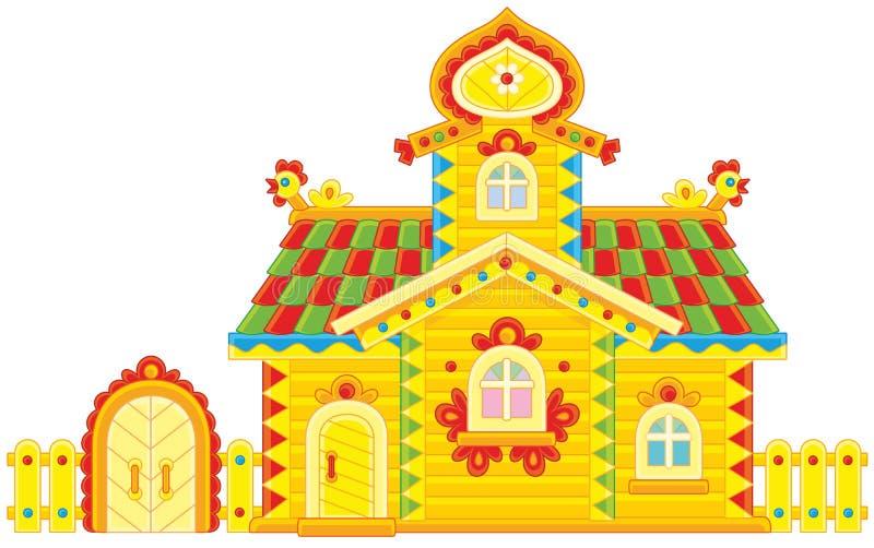 Cabana rústica de madeira ornamentado ilustração stock