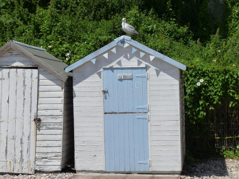 Cabana velha da praia da forma fotografia de stock royalty free