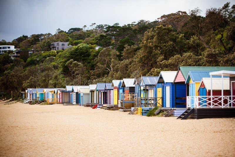 Cabanas australianas da praia foto de stock