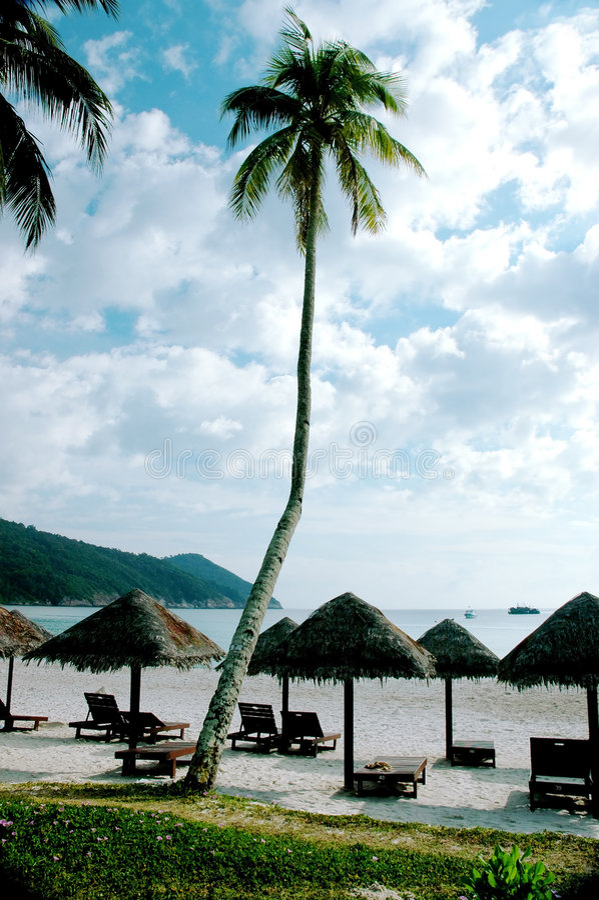 Cabanas bij Strand royalty-vrije stock foto's