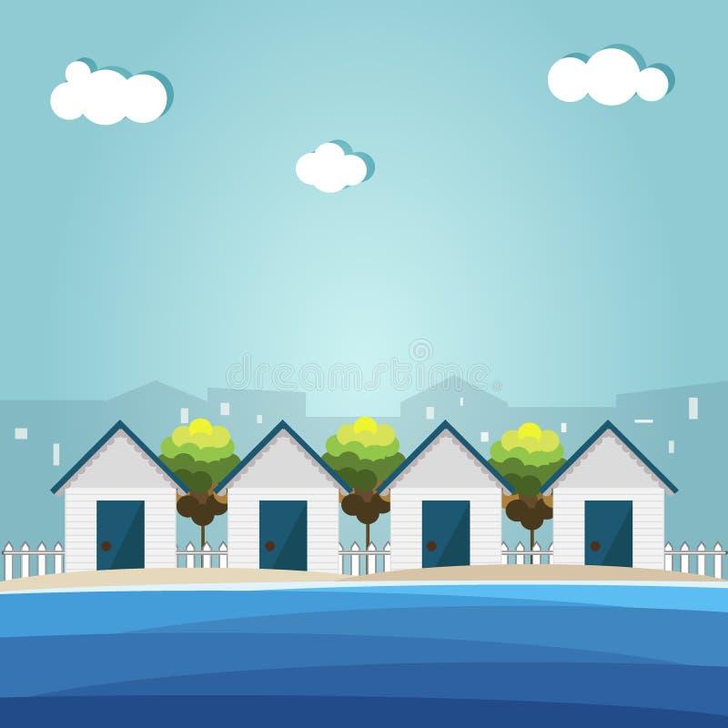 Cabanas coloridas da praia, embaçamento da cidade ilustração royalty free