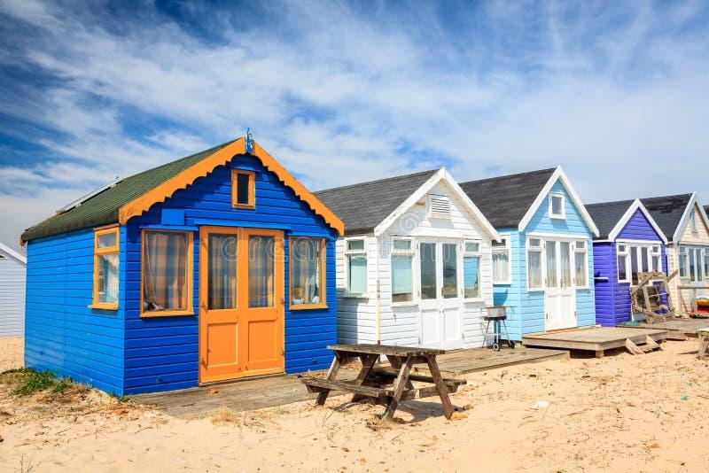 Cabanas da praia do cuspe de Mudeford foto de stock