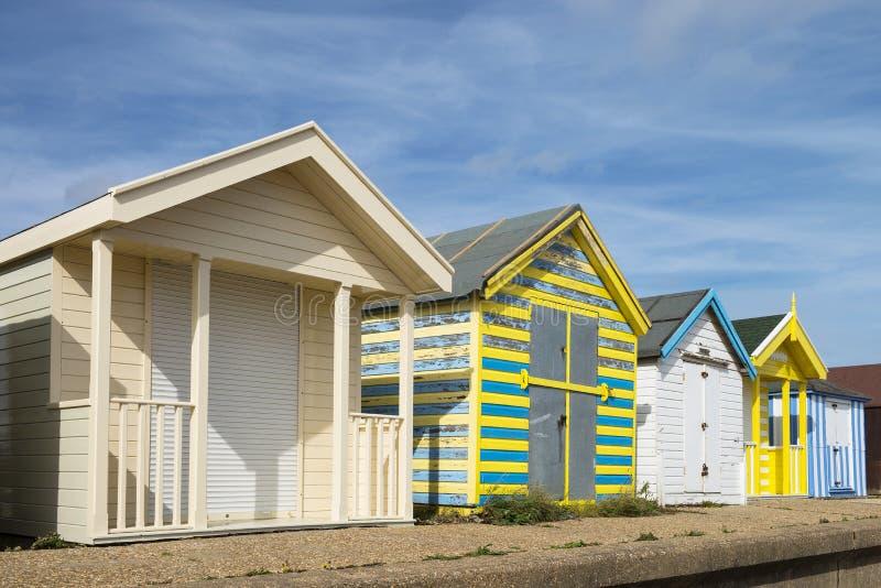 Cabanas da praia na capela St Leonards imagem de stock royalty free