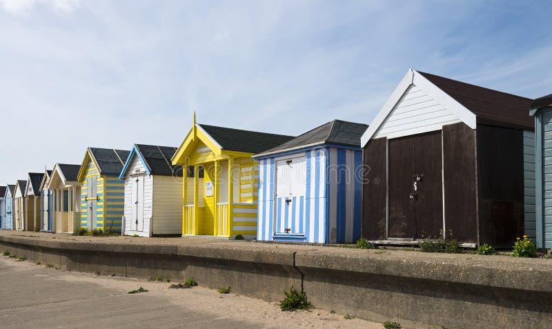 Cabanas da praia na capela St Leonards fotografia de stock