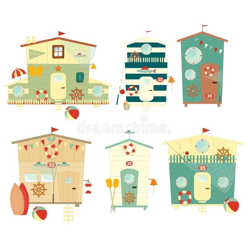 Cabanas em uma fileira ilustração royalty free