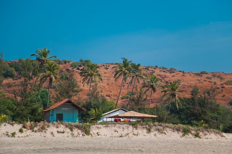 Cabanas na praia fotografia de stock