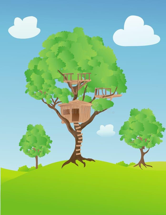 Cabane dans un arbre illustration libre de droits