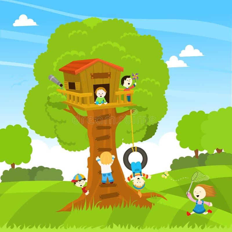 Cabane dans un arbre illustration de vecteur