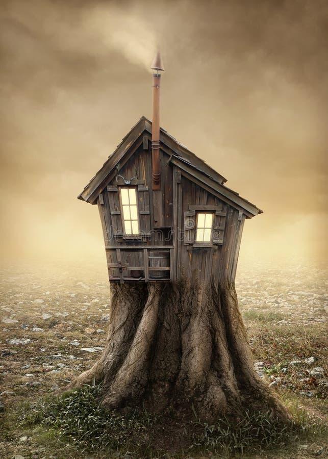 Cabane dans un arbre d'imagination photo stock