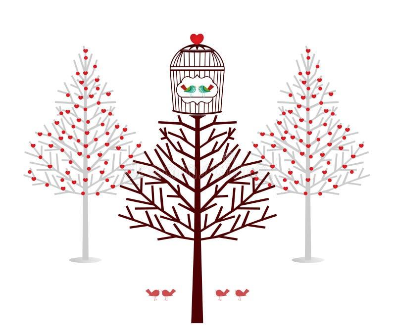 Cabane dans un arbre de vacances pour des oiseaux illustration libre de droits