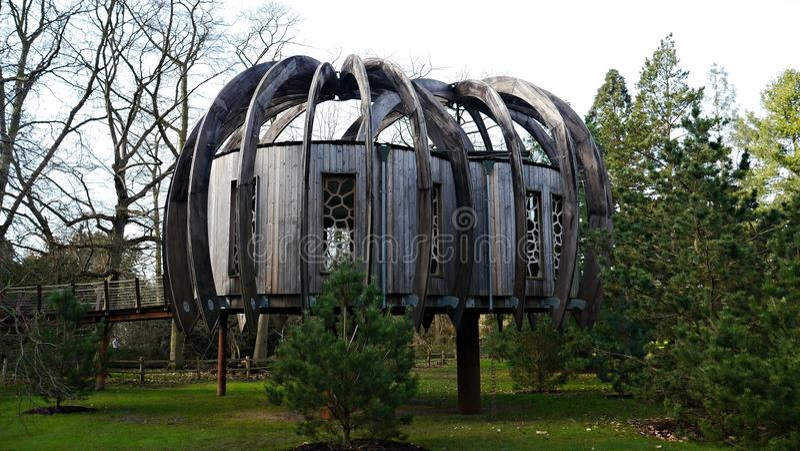 Cabane dans un arbre en bois dans les jardins botaniques Londres R-U de Kew photos stock