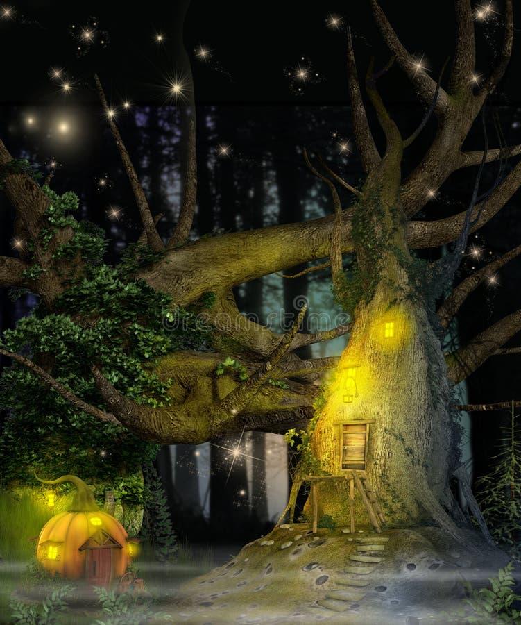 Cabane dans un arbre enchanteresse de fée d'imagination illustration de vecteur