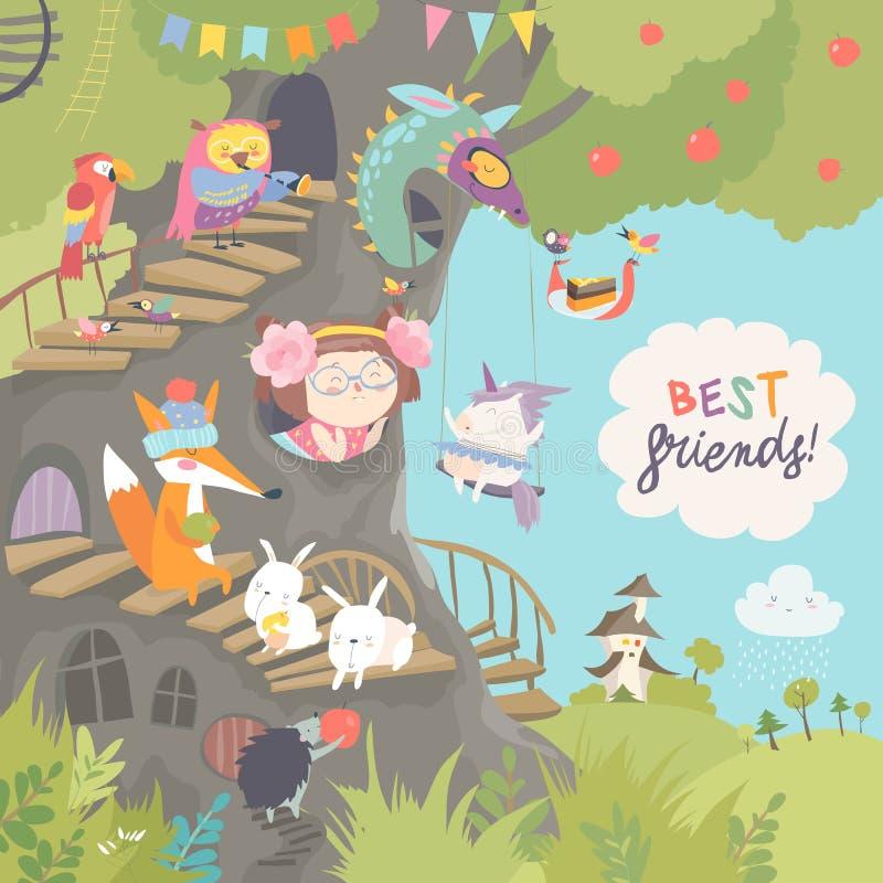 Cabane dans un arbre mignonne avec la petite fille et les animaux illustration libre de droits