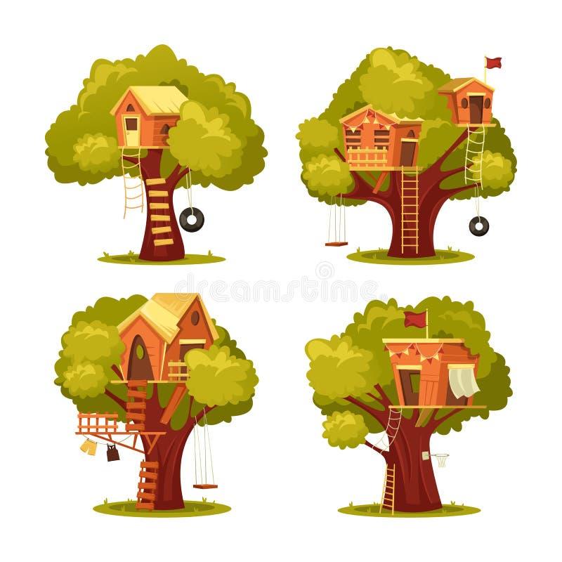 Cabane dans un arbre pour des enfants ou des enfants Maison sur l'arbre illustration stock