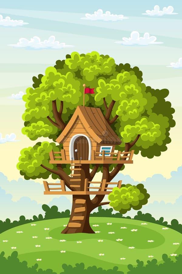 Cabane dans un arbre sur un pré illustration stock