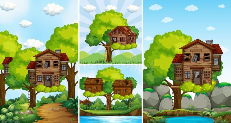 Cabanes dans un arbre sur l'arbre en parc illustration de vecteur