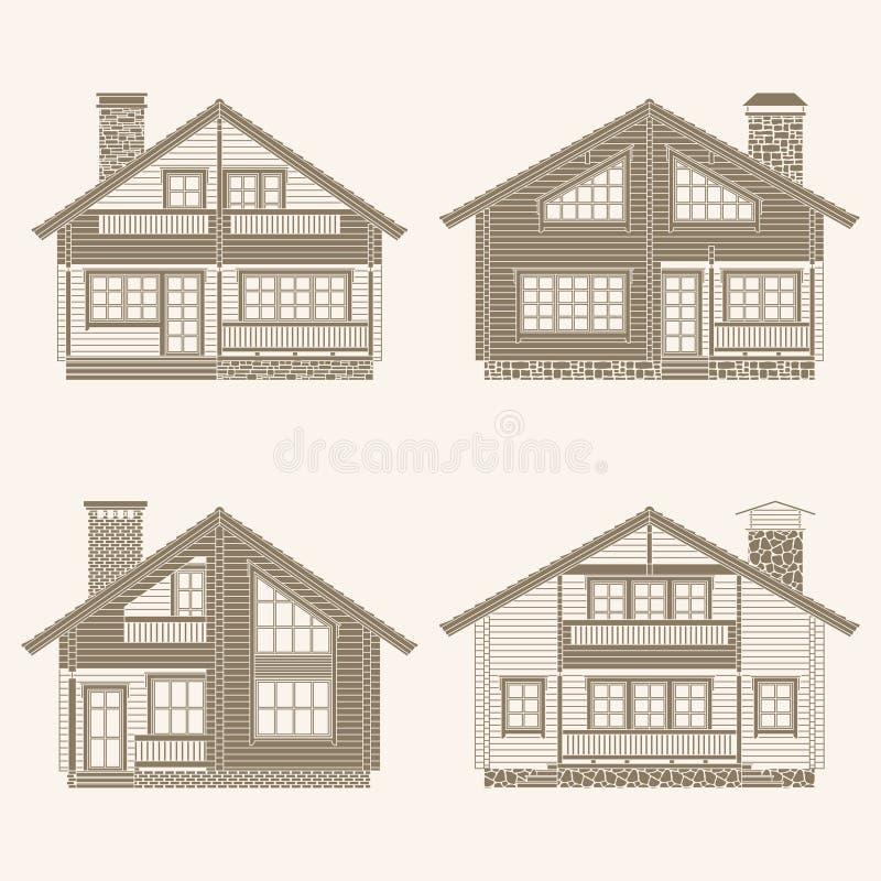 Cabanes en rondins réglées illustration stock