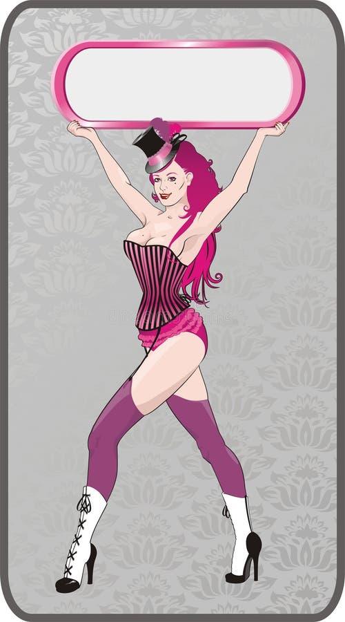 Download Cabaret girl with frame stock vector. Image of frame, vintage - 2039324