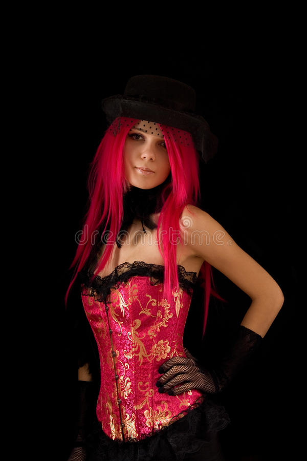 Cabaret girl in pink corset royalty free stock photos