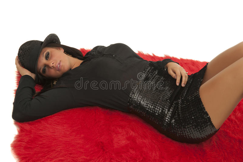 Cabaret girl in top hat stock image