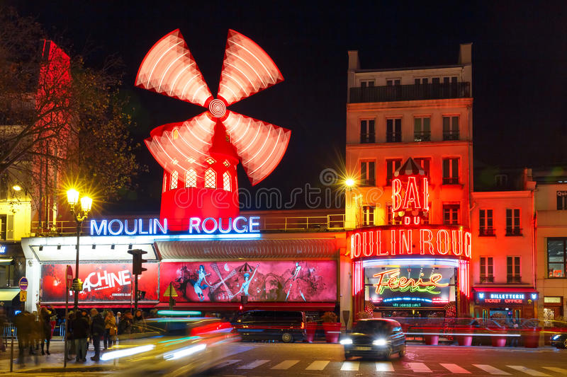 Cabaret Moulin Rouge at night in Paris, France stock photos