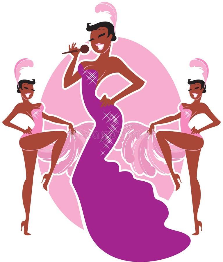 Cabaret singer. Beautiful Cabaret singer with chorus girls royalty free illustration