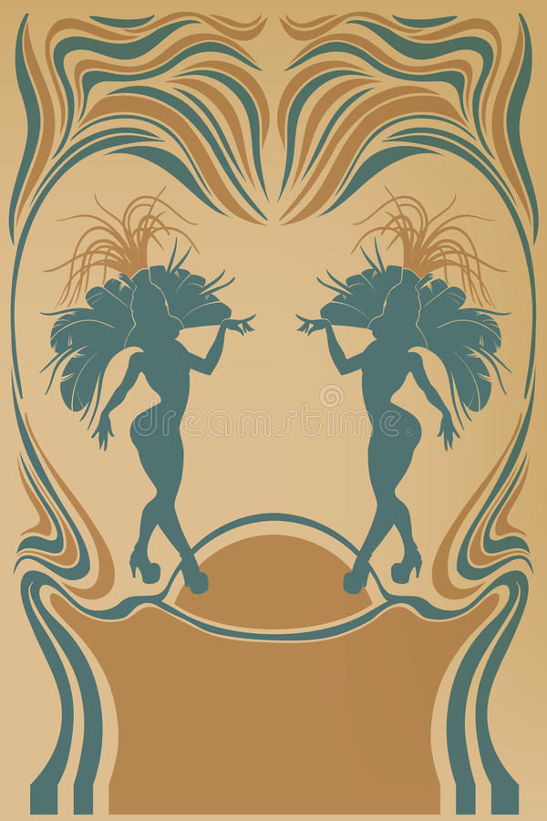 Free Cabaret Vintage Affiche With Samba Queen Stock Images - 46607664