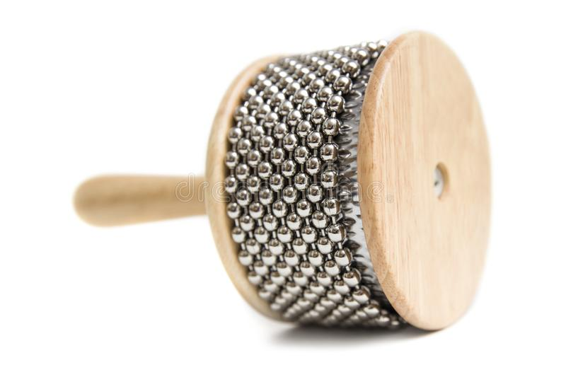 Cabasa percussion instrument. Isolated on the white background stock images