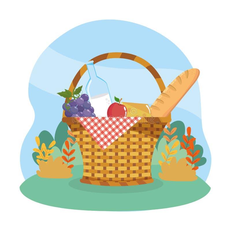 Cabaz com uvas e garrafa de leite com maçã e pão ilustração royalty free