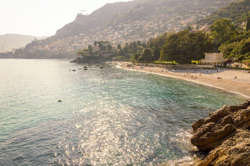 Cabbé海湾的全景在法国海滨 免版税库存图片