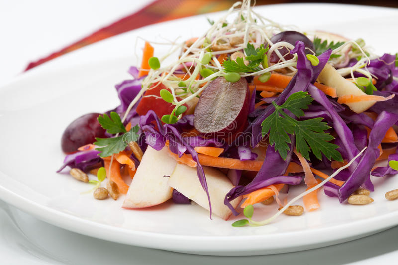 Cabbage, Carrot, And Apple Salad. Closeup of red cabbage, carrot, and apple salad with sprouts, red grape, and roasted sunflower seeds served for healthy lunch stock image