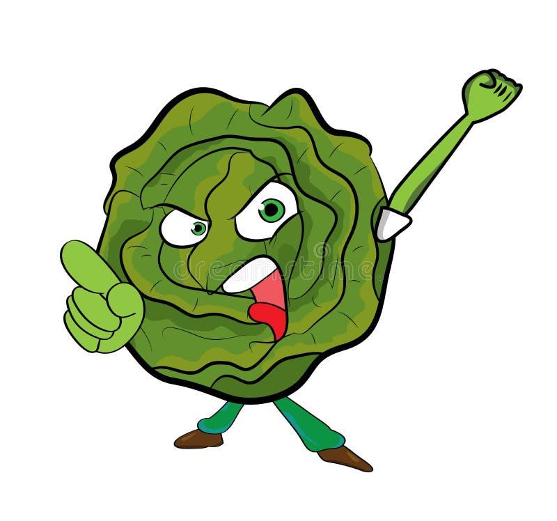 Cabbage cartoon character vector illustration