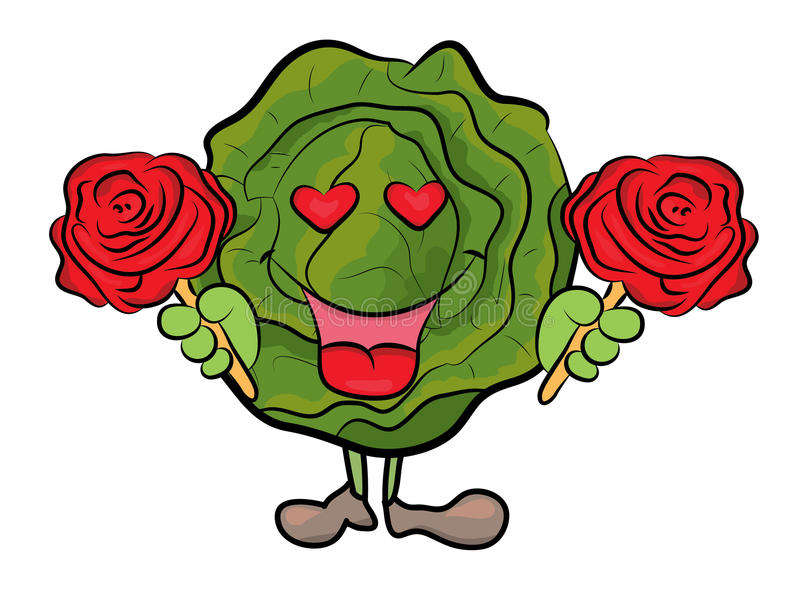 Cabbage cartoon character royalty free illustration