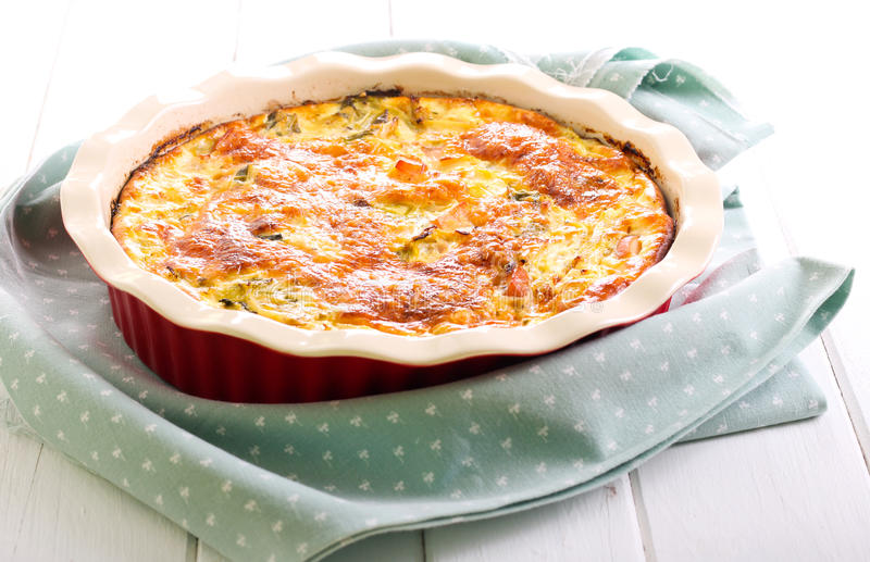 Cabbage and chicken bake. In a tin stock photo
