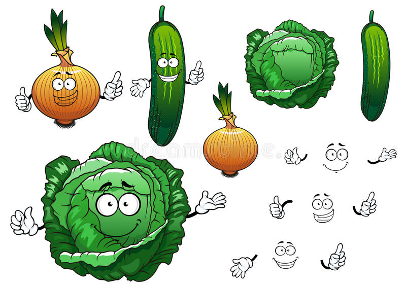 Cabbage, cucumber and onion vegetables. Cartoon green crunchy cabbage, cucumber and golden onion vegetables characters for fresh healthy food or agriculture vector illustration