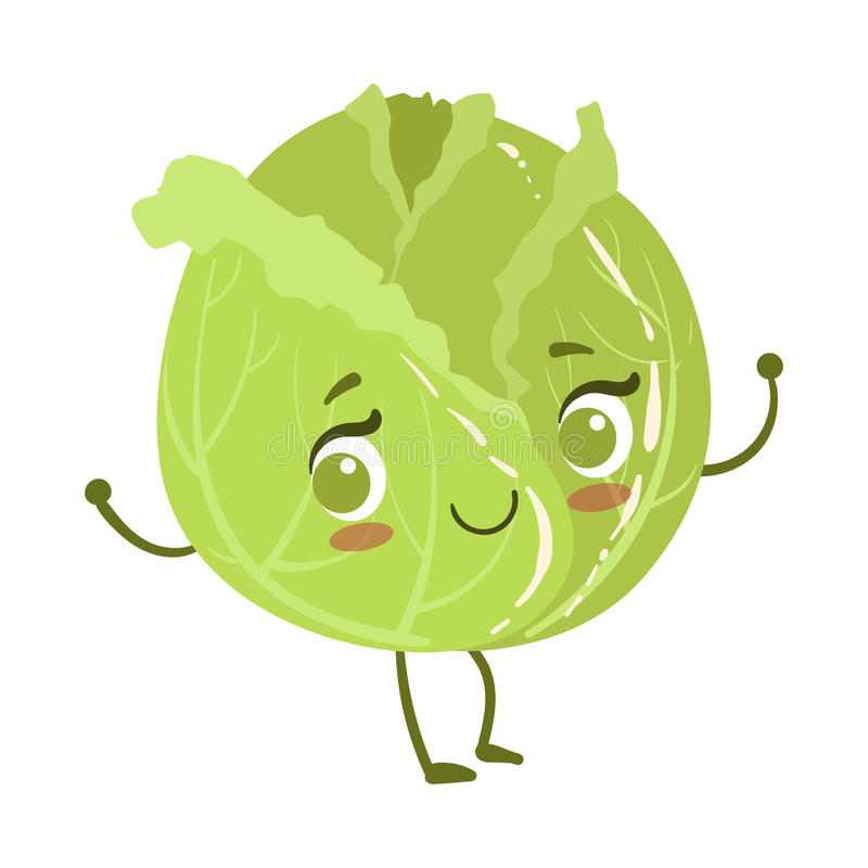 Cabbage Cute Anime Humanized Smiling Cartoon Vegetable Food Character Emoji Vector Illustration. Funny Product With Arms And Legs Childish Design Isolated Icon royalty free illustration